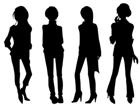 Women pose (silhouette)