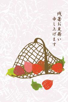 一个日式篮子的Hozuki的篮子,炎热的夏日阳光