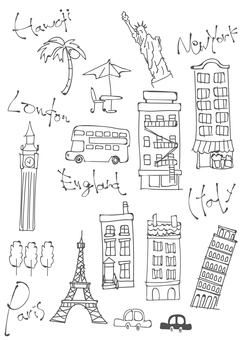 Loose postcard attractions overseas illustration
