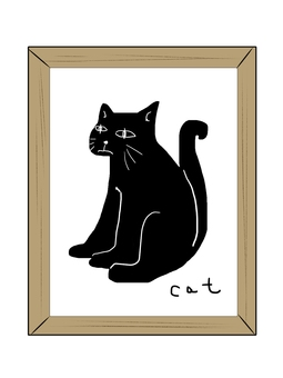 Picture of a black cat in a picture frame