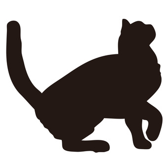 【Silhouette Material】 Cat jumps up