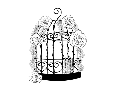 Fashionable bird cage with roses and bridges