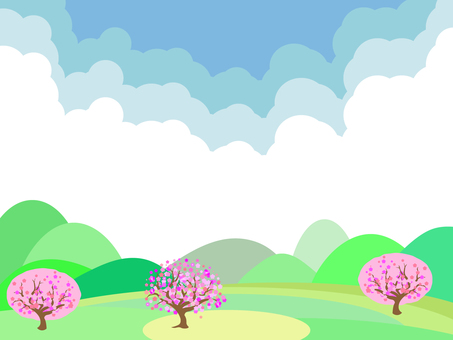 Scenery with cherry trees