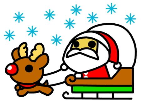 Santa snow on a sled