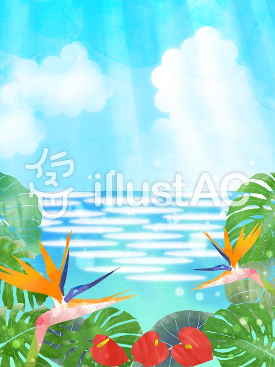 熱帯植物と海(縦)