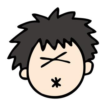 A boy with a sour face