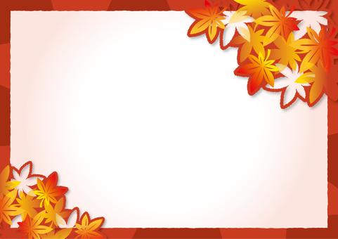 紅葉の切り絵風フレーム_A01