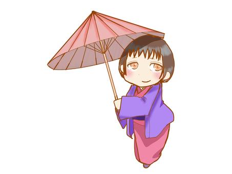A woman holding an umbrella