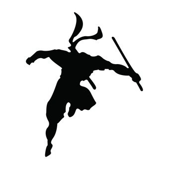A ninja silhouette leaping with a sword