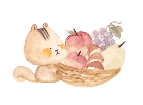 Chipmunk and fall fruit