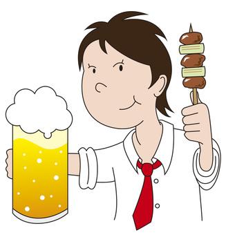 啤酒和烤雞肉串1