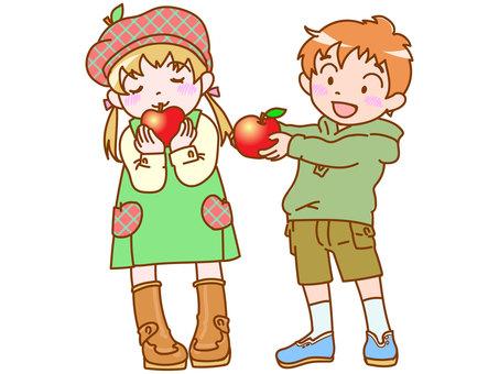 사과 따기 아이