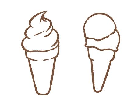 흰색 바탕에 아이스크림