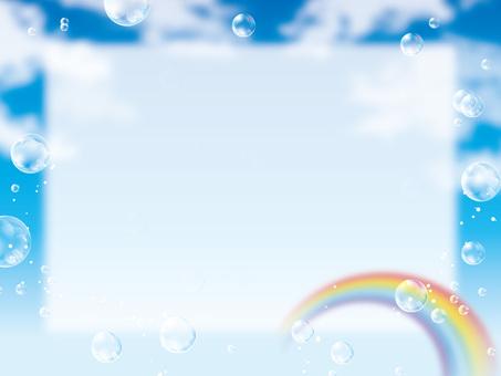 Soap bubble and rainbow rainbow frame background 01