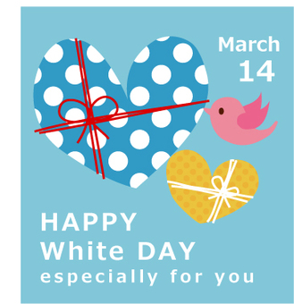 Birds delivering White Day Heart
