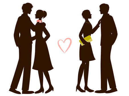 Fashionable couple's silhouette