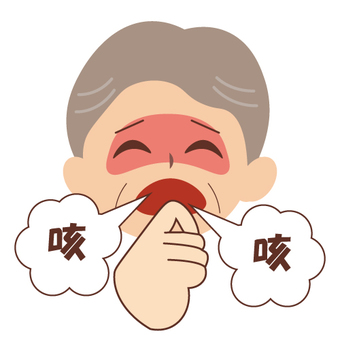 An elderly man who is coughing
