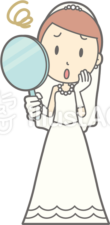 新婦ドレス-鏡かお-全身のイラスト