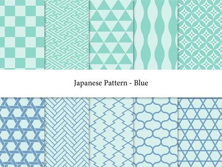 푸른 수화 무늬 세트