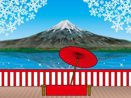 찻집의 의자에서 휴식 (70) 겨울 후지산과 야외 다회