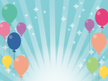Background material of balloons and concentration lines blue