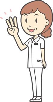 中年婦女護理白大衣 -  212全身