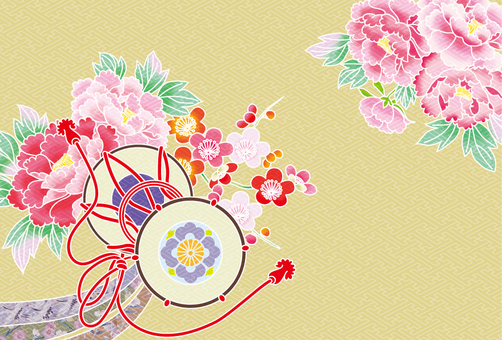 Drum and peony ~ kimono pattern