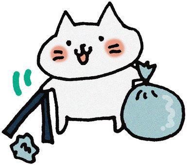 Garbage picking cat