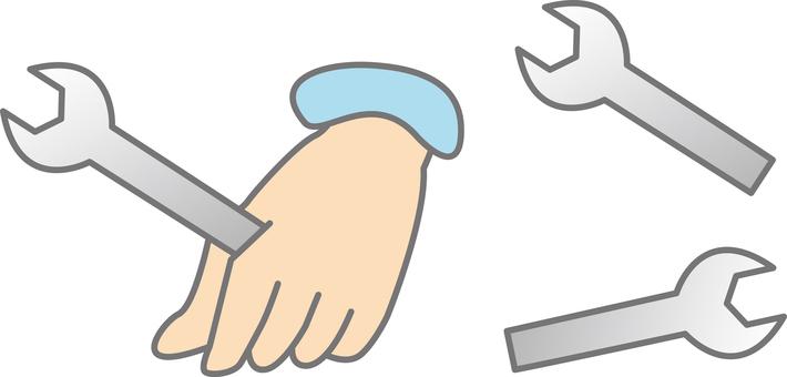 Hand spanner with spanner illustration