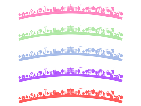 Curved colorful cityscape set