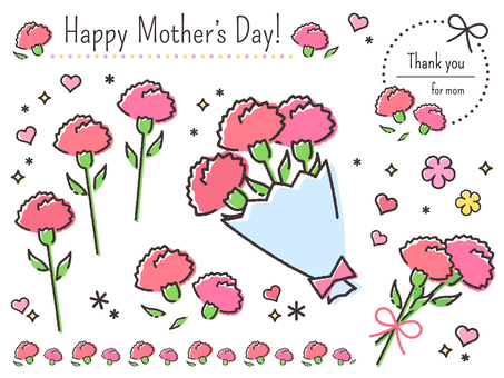 Hand-drawn carnation mother's day material set