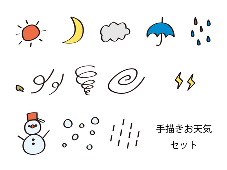 Hand-painted weather set