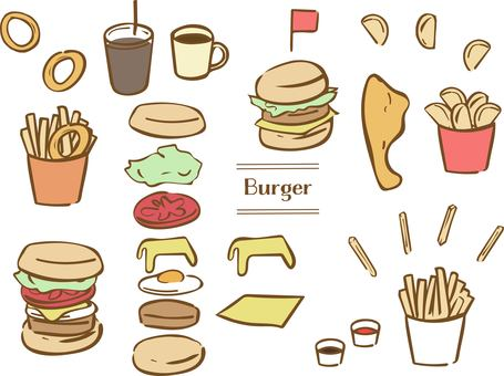 Hand drawn burger set brown line color