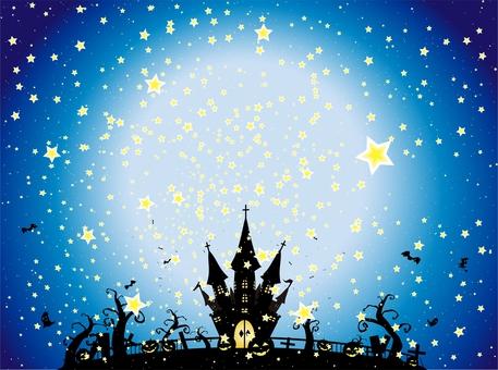 ハロウィン 星空の下のお城の風景