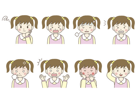 Facial expression of female elementary school student 02