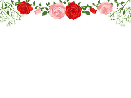 Red and pink roses garland decoration card 03