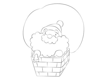 キャラクター-サンタクロース・塗り絵2