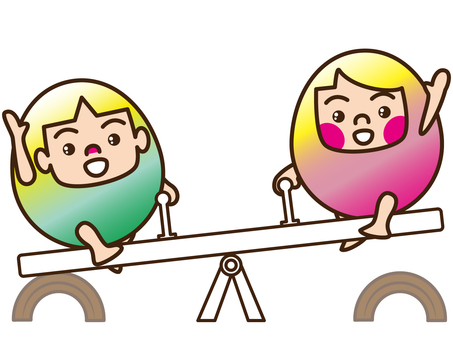Brother and sister / seesaw