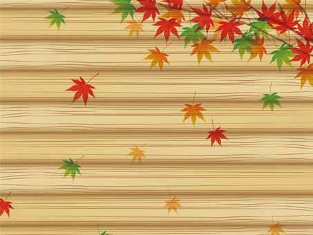 Autumn leaves and wood grain