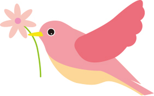 Pink birds and flowers to the left