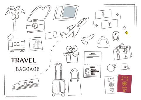 Overseas travel belongings Carry bag preparation