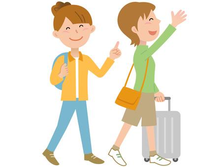 60407. Traveling women, two people
