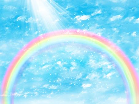 Blue sky and rainbow and light