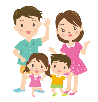 Smile of four people family