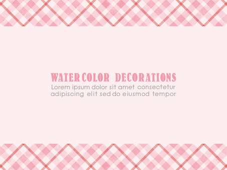 Watercolor touch check pattern frame pink