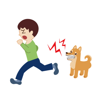 A boy who scares the barking dog and runs away