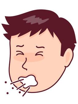 A man who sneezes