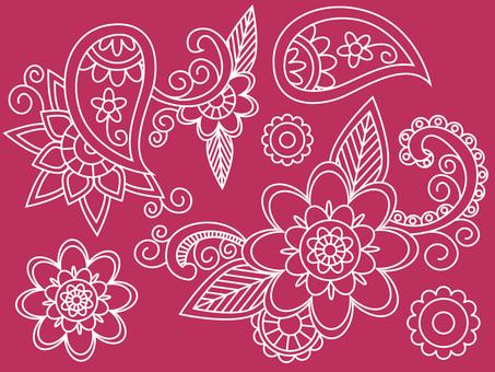 Asian paisley pattern and flower mandala pink