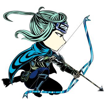 A blue archer