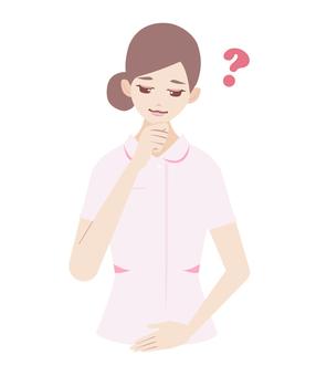 Worried lady (in nurse)